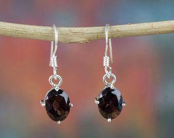 Smoky Quartz Sterling Silver Earring | Smoky Quartz Jewelry | Beautiful Handmade Jewelry | BJE-113-SQC-A