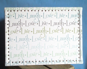 Fabric Covered Bulletin, Bulletin Board, Fabric Wrapped Cork Board, Live Laugh Love