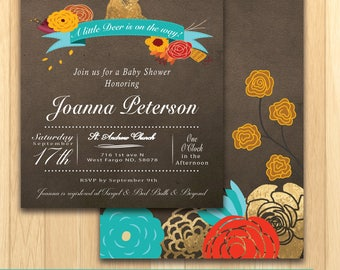 Rustic Baby Shower Invitation - PRINT ON OWN
