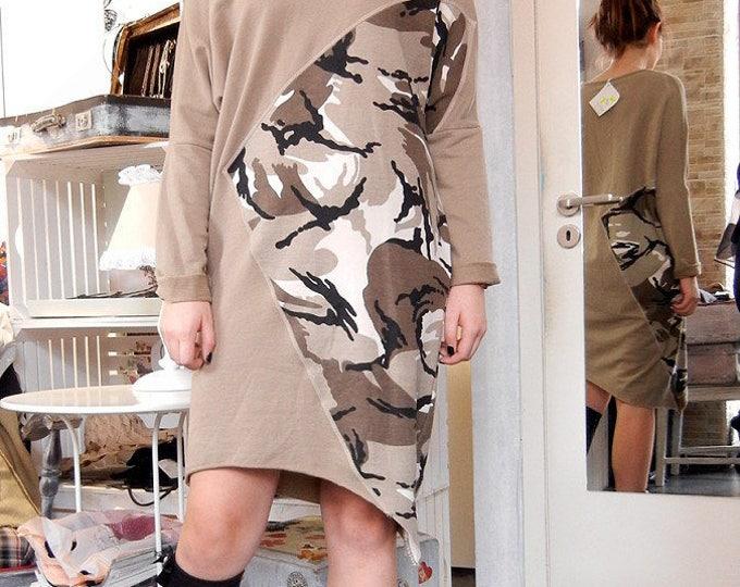 Military Flattering Dress / Asymmetric Loose Dress / Khaki Cotton Dress Tunic