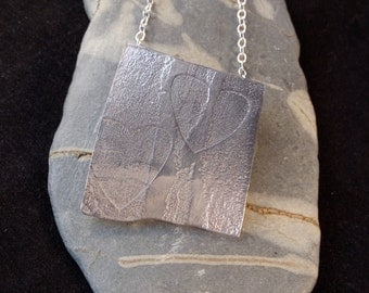 Silver Heart Imprinted Necklace