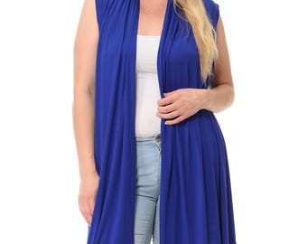 Asymmetric Open Front Vest Plus Size Royal Blue