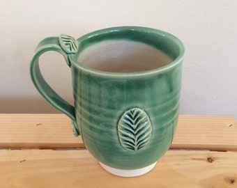 Clay Mug with Large Stamped Leaf Pattern, Ready to Ship.