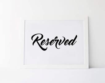 Reserved signs for chairs | Etsy