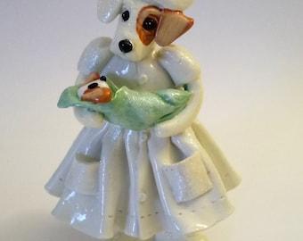 Dog Figurine 1998 Donna Little Enesco Corporation Maternity Nurse