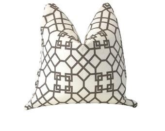 Brown Pillow, Windsor Smith, Archipelagos Clove, White Pillow, Trellis Pillow, Throw Pillow, Decorative Pillow, Sofa Pillow, Pillow Cover