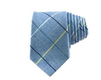 Light Blue Plaid Cotton Tie