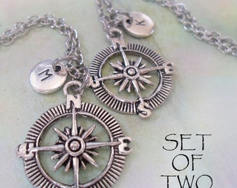 Set of 2 Compass Necklaces Personalized w-Letter Charms, Stay on Course, Thanks for Guiding Me, Men's Gift, Women's Gift, Graduation Gift
