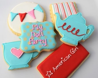 American Girl Doll Inspired Tea Party Cookies - 1 Dozen - Customizeable!