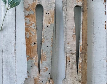 PAIR of chippy gingerbread balusters