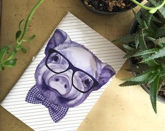 pig  notebook, piglet notebook , pig journal, hipster pig diary, pig notebook designer