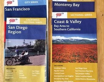 Vintage California Coast Road Maps