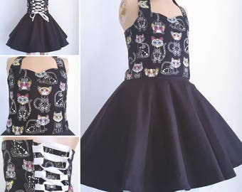 Rockabilly cat skeletons dress - black and white - sizes newborn to 16 years