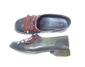 Cuero de las señoras Brogues, zapatos de cuero Vintage de las señoras, señoras, zapatos Vintage