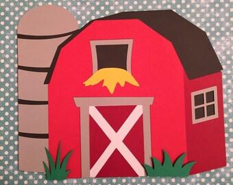 Farm Diecuts, Barn Diecut, Barnyard Party, Farm Barnyard Birthday Party Decorations, Farm Cut Outs