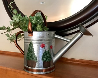 Topiary design watering can, hand painted