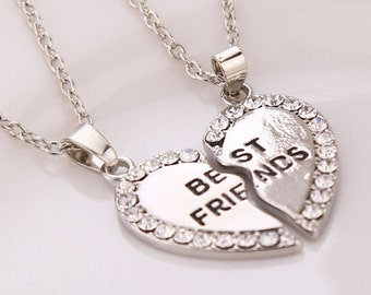 "Silver & Crystal 2 Piece ""Best Friends"" Inscribed Heart Necklace NK4065i"