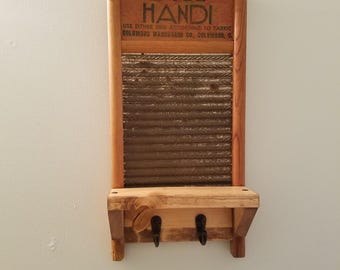 Vintage Washboard Key Holder with Shelf, key hook, repurposed, country decor, rustic