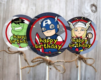 Avengers Cupcake toppers for child's birthday party decorations cartoon art with sucker sticks & string digital download or mailed
