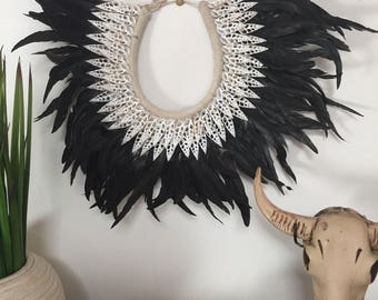 Tribal Luxe Feather & Shell Necklace Wall Hanging