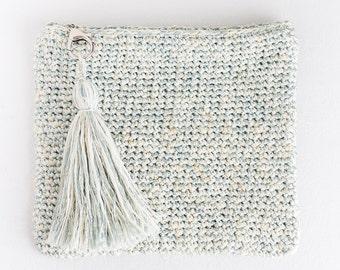 Magnolia Star Crochet Clutch, Handmade Crochet Clutch, Crochet Purse with Tassel, Makeup Bag, Makeup Case, Cosmetic Bag