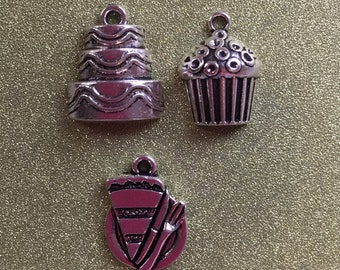 9 Fun Party Food Charms - slice & Plate, Cupcake and Birthday cake