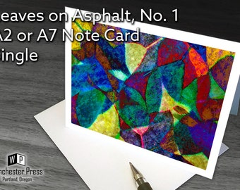 Abstract Art Card, Abstract greeting card, Colorful Mosaic Collage Art Card, Blank Greeting Card, Leaves Photo Art Card, Art Abstract card