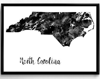 Map of North Carolina, United States of America, Black and White Map, Travel, Watercolor, Room Decor, Poster, gift, Print, Wall Art (766)