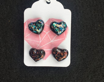 Heart Earrings, Opalescent Earrings, Earring Studs, Jewelry, Gift, Handmade, Unique, Epoxy Coated