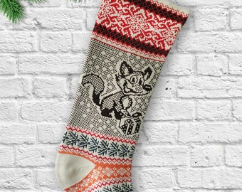 Knit Christmas Stockings Fox with Present  Knit Christmas Sock  Snowflakes Very Long Santa Stocking Christmas Stockings for the Family