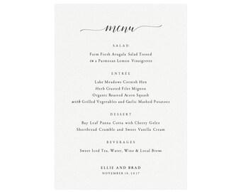 Adel: 5x7 AND 8x10 Printable Wedding Menu Template in Black, Calligraphy Wedding Menu, Minimalist Menu, Simply Editable PDF Instant Download