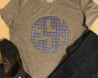 Monogram Tee Gingham/ choice of gingham color