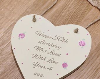 Hand painted Wooden heart with message of your choice