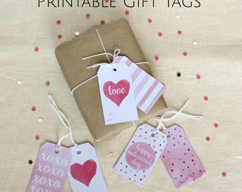 Large Gift Tags, Valentine Tag, Class Valentine, Handmade Gift Tag, Printable Gift Wrap, Watercolor Valentine, Pink Watercolor Tag,