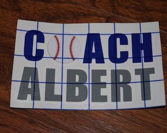 Baseball Coach Decal, Softball Coach Decal, Baseball Vinyl Decal, Softball Vinyl Decal, Personalized Coach Decal, Sports Decal, Baseball Cup