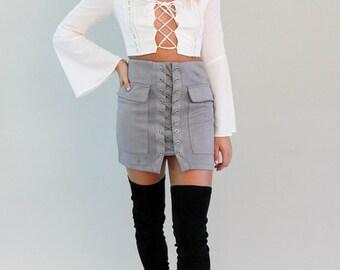 High Waist Lace Up Skirt