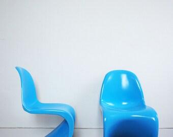 Chairs plastic blue vintage design