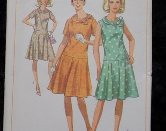 1960s Vintage Sewing Pattern Simplicity 6985  Dress Pattern Drop Waist Dress Sleeveless Dress Pattern, Size 14 1/2 Bust 35