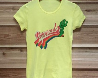 SALE Womens Boho Bohemian DESPERADO Cactus Shirt Western Southwest Tee Top Vintage Retro Cotton Fashion Short Sleeve Tshirt S M L XL