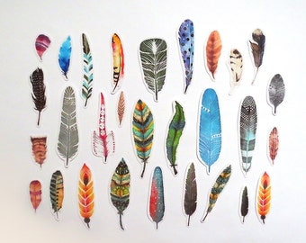 Feathers Stickers Pack, Feather Stickers, Scrapbooking Die-Cut Sticker Set