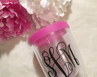 10 oz. Wine To-Go Tumbler//BPA Free// Close Top Lid//Monogram//Personalized//Engagement Gift//Bridal//Bridesmaids Gift