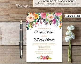 Bridal Shower Invitation, Floral Watercolour Bridal Shower Invitation, Instant Download, Editable PDF - you personalize at home.