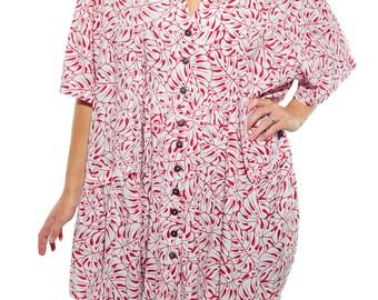 WeBeBop Women's Plus Size Tahiti Red Kirsten Blouse