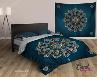 Blue Mandala Duvet Cover Set. Boho Style Bedding Set. Boho Duvet Cover Comforter Upgrade. Bohemian Duvet Cover Set. King, Queen