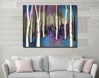 "24""X30"" original painting abstract contemporary acrylic canvas purple blue birch aspen wall art home office interior decor by Shweta Patil"
