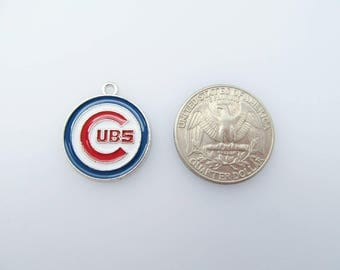 Chicago Cubs Charm - MLB Logo - Baseball Jewelry Findings