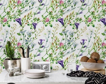 Watercolor wild flowers wall mural || Floral, colorful, vibrant wallpaper || Self adhesive, Reusable, Removable #90