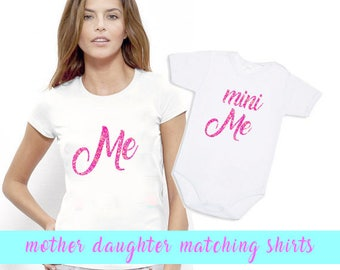 Mother Daughter Matching Shirts Me and Mini me Shirts Mom Daughter Outfits Me and Mini Tshirts Set Me and Mini Me Glitter Shirts