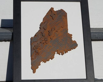 3D Topographic Map of Maine