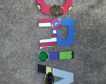 Superhero Letters, avengers, marvel, dc comics, wall decor, kids room